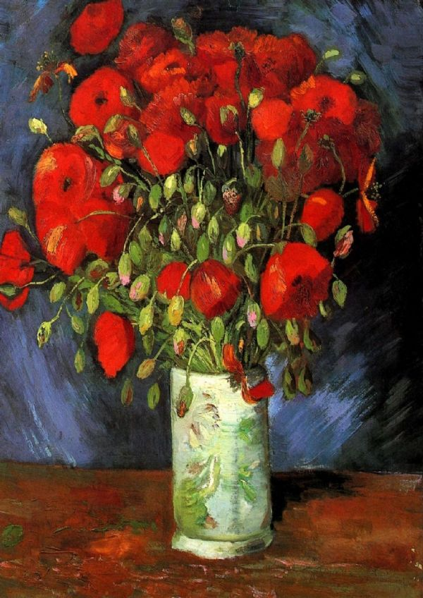 Van Gogh, Vincent: Vase with Red Poppies. Fine Art Print/Poster. Sizes: A4/A3/A2/A1 (001732)
